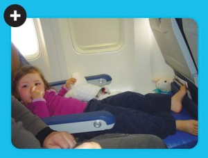 Toddler-stretched out using 1stClassKid+ Travel Pillow